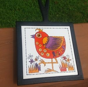 Wrought Iron Bird tile trivet made in Japan